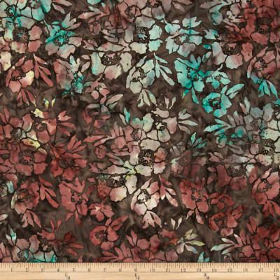Timeless Treasures Tonga Batik Topaz Poppies Topaz