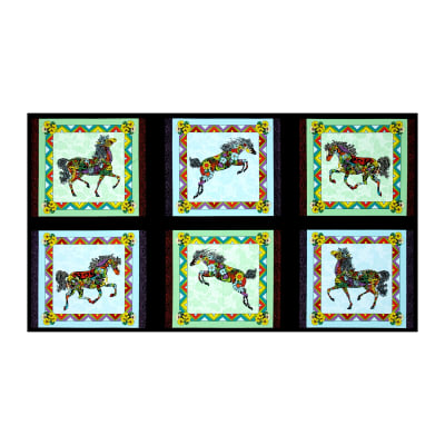 """Painted Ponies Picture Patches 23"""" Panel Black"""