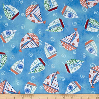 Dream Boats Tossed Sailboats Dark Blue
