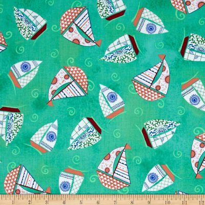 Dream Boats Tossed Sailboats Green