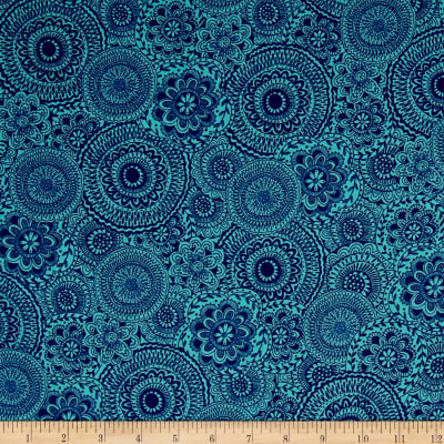 Dream Boats Floral Medallion Dark Blue
