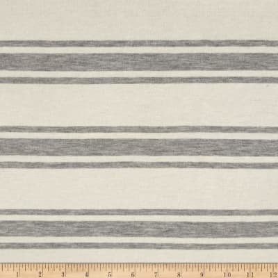 Designer Jersey Knit Stripes Heathered Gray/Vanilla