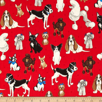 Kaufman Whiskers & Tails Dog Collage Red