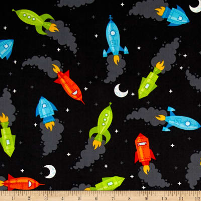 Kaufman Spaced Out Spaceships Charcoal