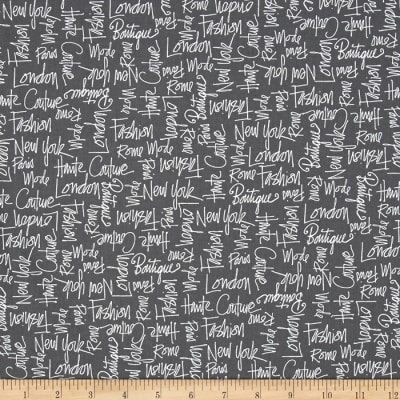 Kaufman City Chic City Words Grey