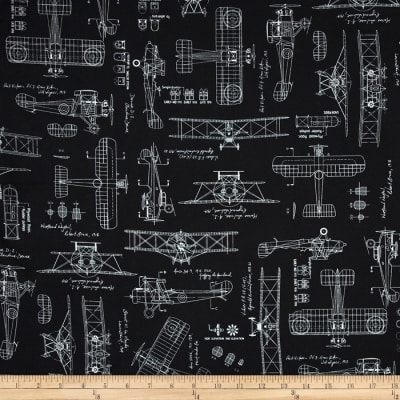 Kaufman Vintage Blue Prints Bi-Planes Black