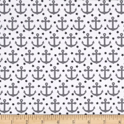 Kaufman Fabulous Foxes Anchors Grey