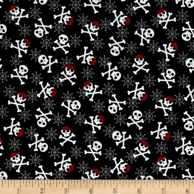 Kaufman Fabulous Foxes Crossbones Black