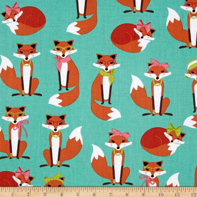 Kaufman Fabulous Foxes Large Fox Girls Aqua