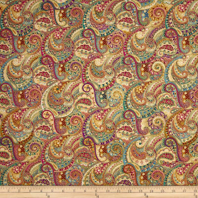 Kaufman Trieste Metallic Paisley Collage Sunset