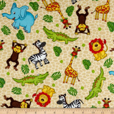 Classic Cottons Jungle Power Flannel Jungle Animal Skin Cream/Multi