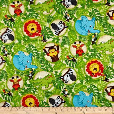 Classic Cottons Jungle Power Flannel Jungle Animal Bubbles