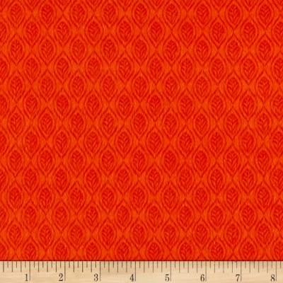 Classic Cottons Jungle Power Flannel Tonal Leaves Orange