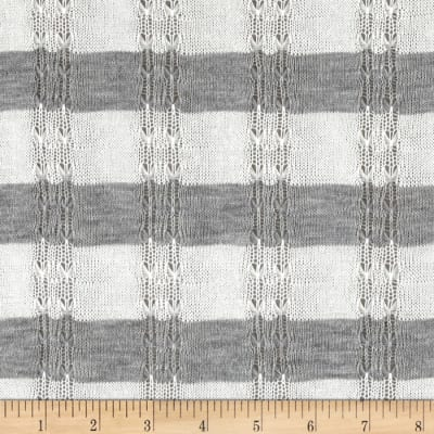 Sweater Knits Open Weave Stripe Grey/White