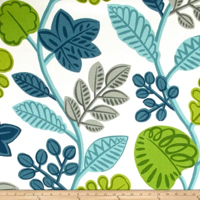 P Kaufmann Woven Floral Leaves Blue/Green