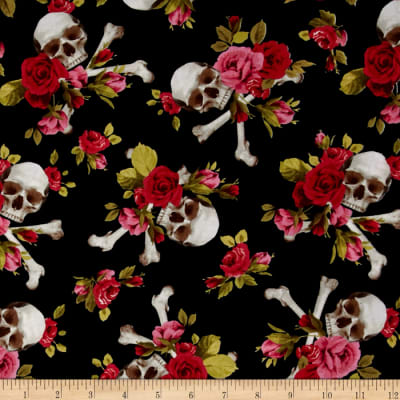 Michael Miller Skulls Out Skull and Roses Red