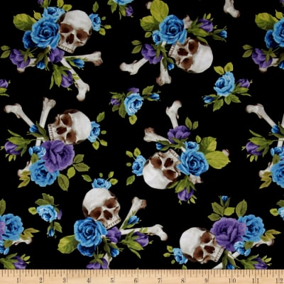 Michael Miller Skulls Out Skull and Roses Purple