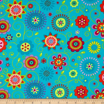 Timeless Treasures Petalmania Allover Floral Teal