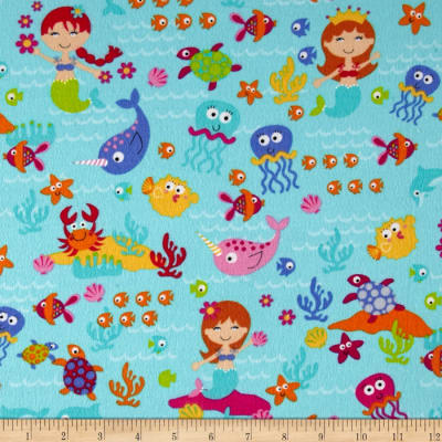 Timeless Treasures Sunkissed Swimmers Flannel Sea Creatures Turquoise