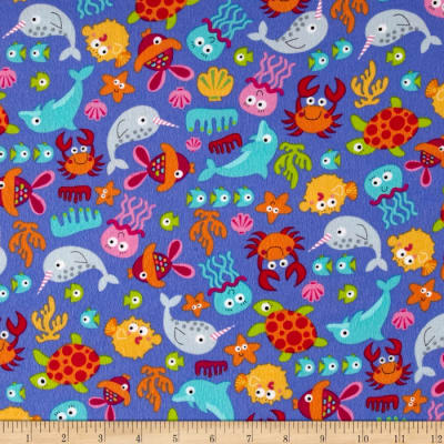 Timeless Treasures Sunkissed Swimmers Flannel Sea Creatures Purple