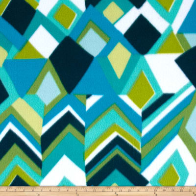 Novelty Fleece Geo Print Aqua