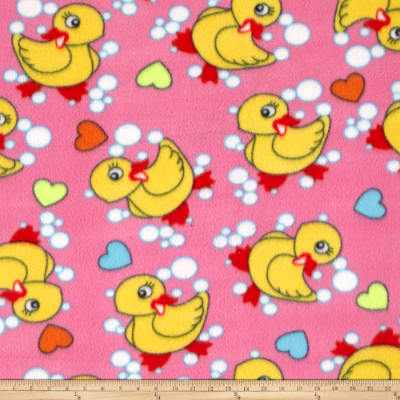 Juvenile Fleece Duck & Bubbles Print Pink