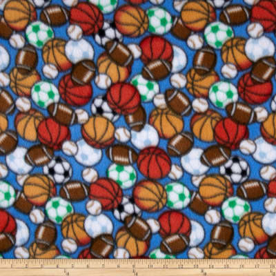 Juvenile Fleece Sports Balls Print Blue