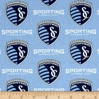 MLS Cotton Broadcloth Kansas City Sporting Lt Blue