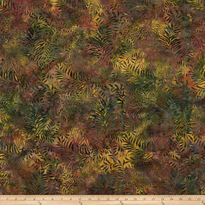 Island Batik Fern Green/Red/Gold