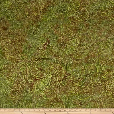 Island Batik Paisley Green/Brown