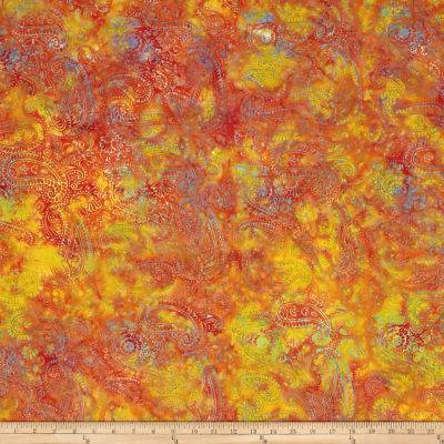 Island Batik Paisley  Orange/Red