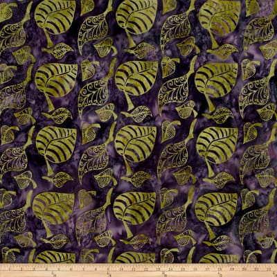 Island Batik Leaves Purple/Green
