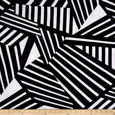 Jersey Knit Abstract Tripe Black/White