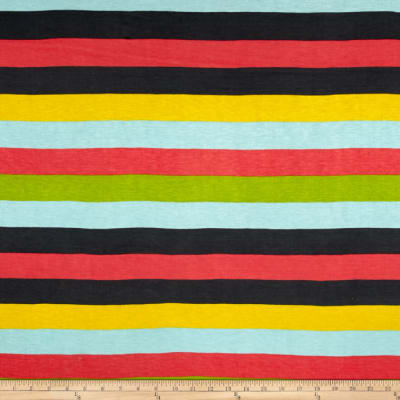 Jersey Knit Multi Rainbow Stripe