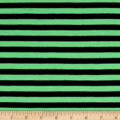 Jersey Knit Black/Green Stripe