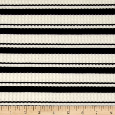 Thermal Knit Print Stripe Ivory/Black