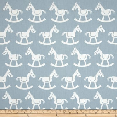 Premier Prints Rocking Horse Twill Weathered Blue/White