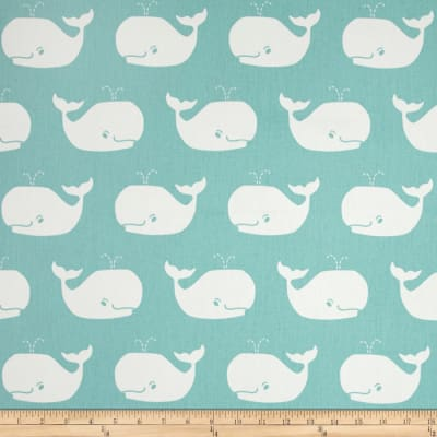 Premier Prints Whale Tales Twill Canal/White