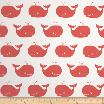 Premier Prints Whale Tales Twill White/Coral