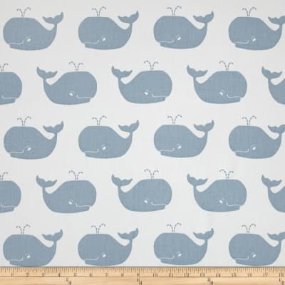 Premier Prints Whale Tales Twill White/Weathered Blue