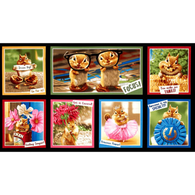 Kaufman Chip Chip Hooray Chipmunk Block 24'' Panel Bright