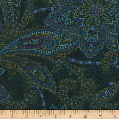 Timeless Treasures Tapestry Metallic Paisley Floral Spruce