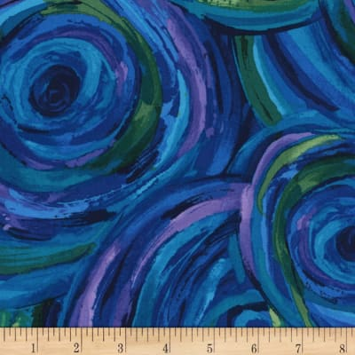 Timeless Treasures Midnight Painted Swirl Peacock