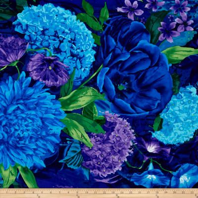 Timeless Treasures Midnight Large Floral Cotton Fabric Midnight