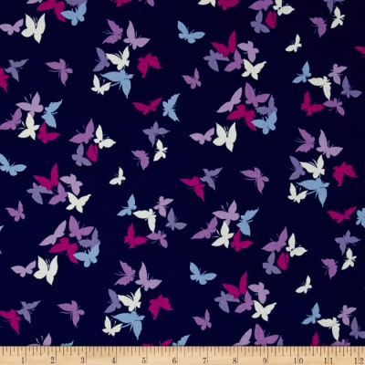 Michael Miller Sea Holly Flutter by Clouds Navy