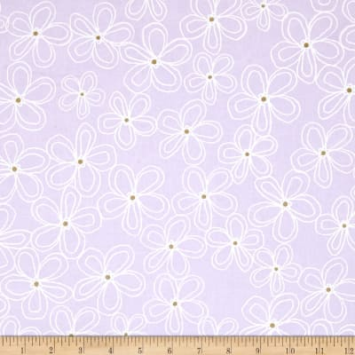 Michael Miller Wee Sparkle Metallic Lacey Daisy Opal