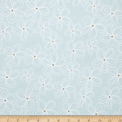 Michael Miller Wee Sparkle Metallic Lacey Daisy Mist