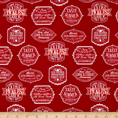 Kaufman Down on the Farm Canning Labels Red