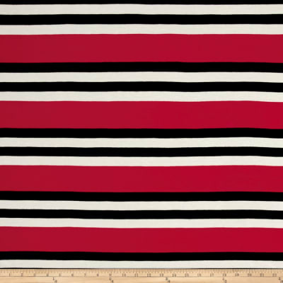 Jersey Knit Stripe Fuchsia/Black/White