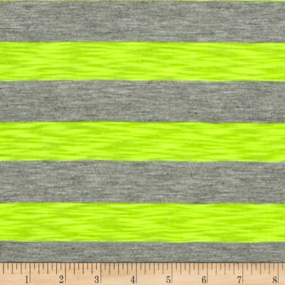 Jersey Knit Stripe Neon Yellow/Grey